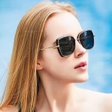 becc987a050 Blue (Bluekiki) Polarized Sunglasses Women s Fashion Round Frame Color Film  Trends Sunglasses Driving Mirror Female 6157 Black Frame Black Gray