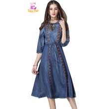 3d13f01f6 S M L chest 92-100cm vintage cotton summer 2018 denim jeans long dress women  half sleeve embroidery mid calf