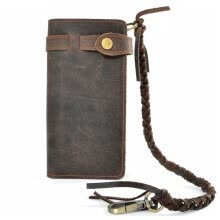 Vintage Handmade Genuine Leather Wallet Fashion Men Long Purse Card Holder Bag Real Cowhide Waxed Leather Wallet With Woven Rope Clutch Bag