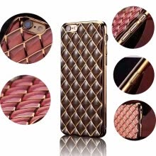 875061539-NEW Plating Back Soft Case For iphone 6 Plus Cover Silicone TPU Metal Oil Framer & Grid Cover For iphone 6 6S Plus Phone Cases on JD
