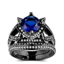 -New Luxury Blue Cubic Zirconia Black Gold Color Ring Sets Unique Vintage Cocktail Party Engagement Rings for Women  R703 on JD