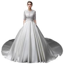 -Satin Illusion Pearls 1/2 Sleeves Sash Hollow Jewel A Line Wedding Gown on JD
