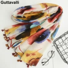 -Guttavalli Women Christmas Flowers Long Fringes Shawl Female Yellow Soft Chevron Осенний завод Печать Геометрический SkinnyScarves on JD