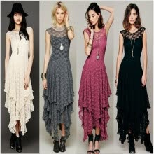 -Buenos Ninos Irregular Long Dress Lace Hollow out Summer Vestidos on JD
