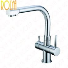 87502-Rolya Ronda 3-Way Kitchen Faucet Osmosis Tri Flow Sink Mixer 3 Way Water Filter Tap Chrome Solid Brass on JD