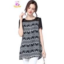630c77d9176 L - 5XL плюс размер шифон элегантный летом 2018 блузка женщин короткий рукав  большой размер старинный черно-белый печать