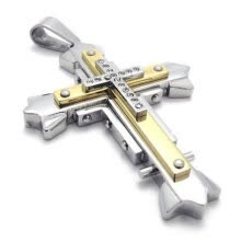-Hpolw High Quality Men's Jewelry Stainless Steel Cross Pendant Necklace,Gold Silver,18-26 inch Chain on JD