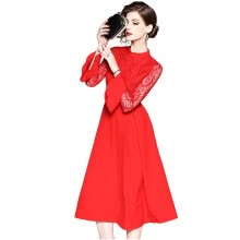 875061820-2018 New Summer Red A-Line Delicate Lace Flare SleeveKnee-Length Office Lady Red Dress Women Summer Casual on JD