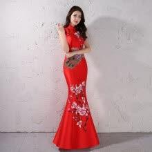 bdf0a4761 Vestido de novia chino de la vendimia cola de pescado brindis ropa delgado  delgado satén bordado de la sección larga