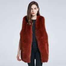 2a50928e8e2 Women s Winter Coat True Fox Fur Jacket Furry Fur Vest Natural Fur Coat Big  Block Stitching 2018 New Warm Fashion Discount