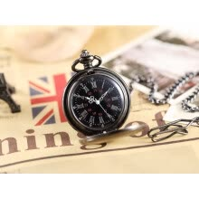 -Unique Black Smooth Hollow Mechanical Watches Men Roman Number Hand Wind Mechanical Male Steampunk Pocket Watch FOB Chain Clock on JD