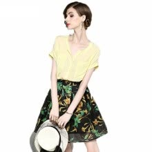 875061819-2018 New Fashion Casual Soft Chiffon Short Sleeve Shirts + Print Mini A-line Skirt Summer Set Two Piece on JD