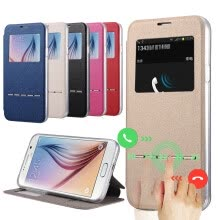 -Window View Display Flip Leather Case for Samsung Galaxy S6 G9200/S6 Edge G9250 Answer Call Flip Leather TPU Protective Cover on JD