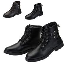875062322-Men Martin boot Military Fleece Lined Buckle Lace Up High Top Worker Winter Shoes on JD