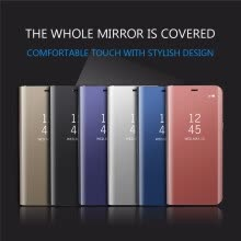 Samsung Galaxy J5/J7 Prime Luxury Slim Mirror Flip Shell Stand Leather Smart Clear View Window Cover Phone Case