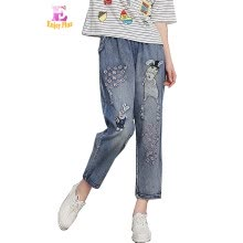 -XXL 3XL 4XL casual cotton summer 2018 harem jeans long pant big size blue denim trousers loose cartoon embroidery elastic waist on JD