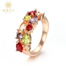 -Online sale antique ladies rose gold finger cz ring on JD