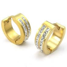 -Hpolw Mens Cubic Zirconia Stainless Steel Stud Huggie Hoop Earrings Set, Gold on JD