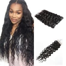 virgin-hair-Ishow 7APeruvian Human Hair 3 Bundles Water Wave With Closure Free Middle Part  Hair Extension Natural Color Hair Bundles on JD
