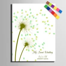 8750202-Fingerprint Tree Signature Canvas Painting Dandelion Wedding Gift Wedding DIY Decoration Fingerprint Signature(Include 6Ink) on JD