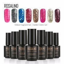 -ROSALIND Gel 1S 7ml Meteor Fragment Gel Glitter Nail Polish UV Led Manicure Nail Polish Nail Art Gel Lacquer Soak Off 12 Colors on JD