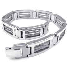 -Hpolw Men Fashionable Men's silver Stainless Steel Ring Unique Cables and Screw Design Biker Links Bolt buttoned Bangle on JD