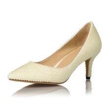 e53dce0d Zapatos de tacón alto color crema con punta de perla Zapatos de boda de  mujer