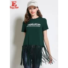 02603433f5f M L XL XXL 3XL 4XL 5XL cotton casual new summer 2018 long t shirt women  short sleeve big size green letter printed O neck tassel