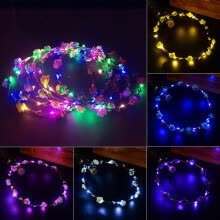 875062531-Wedding Xmas Party Women Girls LED Light Up Flower Headband Hair Wreath Garland on JD
