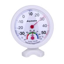8750209-Hight quality White Round Digital In-out Doors Centigrade Greenhouse Thermometer Hygrometer on JD