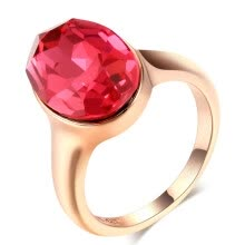 875062457-New Arrival Ring Inlaid Crystal For Women Luxurious Wedding Ring Big Red Stone Rose Gold Plated R223 on JD