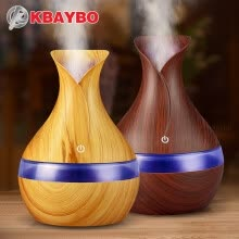 -KBAYBO 300ml USB electric Aroma Essential Oil Diffuser Ultrasonic Air Humidifier Wood Grain LED Lights aroma diffuser for home on JD