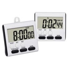 8750201-UpperX 2 Pack Magnetic Digital Kitchen Timer 24 Hours Clock Timer Loud Alarm with Big Digits and Stand (Black) on JD