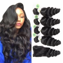 -Unprocessed Indian Virgin Hair With Lace Closure Indian Loose Wave With Closure 4 Bundles With Closure Human Hair With Closure on JD