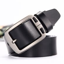 -Men's pin buckle two layers of cowhide leather belt men's belt belt leisure business on JD