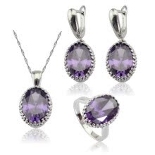 ring-sets-EIOLZJ Purple Stone Silver Plated Jewelry Sets for Women Necklace Pendant Dangle Earrings Ring Free Jewelry Box 7 Colors Available on JD