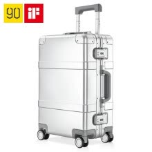-90 points metal trolley case 20 inch aluminum magnesium alloy silent universal wheel boarding metal suitcase 100501 silver on JD