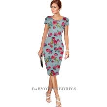 -2018 Summer Elegant Women Cocktail Party Short Sleeve Floral Dresses Knee-length Slimming Sheath Pencil Dress Bodycon on JD