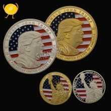 8750207-American 45th President Donald Trump Coin US White House The Statue of Liberty Metal Coin Collection Challenge Coin Gold/Silver on JD