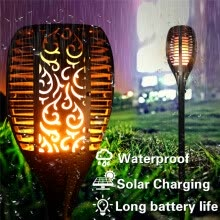 8750210-LED Solar Flame Flickering Lawn Lamps Led Torch Light Realistic Dancing Flame Light Waterproof Outdoor Garden Decor Flame Lamp on JD