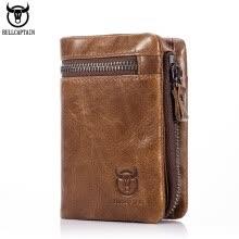 622ea3890c1c BULL CAPTAIN 2017 CASUAL Short Trifold Hasp Zipper Wallet MEN Coffee Cow  Leather Wallet Coin Pocket Money Purse Bag Card Holder