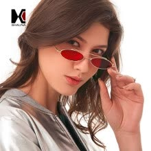 -SHAUNA Fashion Small Oval Sunglasses Double Bridges Clear Red Lens Shades UV400 on JD