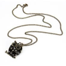 875062455-Charming Black Enamel Hollow Rhinestone Owl Shape Long Necklace 60199 on JD