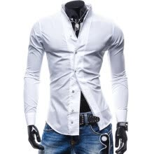 casual-shirts-Zogaa New Men's Shirt Pure Color Slim Casual Fashion on JD