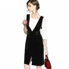 875061819-2018 Fashion Office Lady Women Suit Three Quarter Flare Sleeve T-shirt + Suspenders Sashes Dresses with Pockets Two Pieces Sets on JD