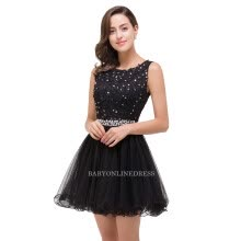 -Babyonline Pink Beaded Homecoming Dresses 2017 Scoop Neck Soft Tulle Party Dresses Mini Dress Black Lace Graduation Dresses on JD