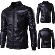 leather-faux-leather-Mens Fashion Winter Warm Jacket Long Sleeve Casual PU Leather Jacket on JD
