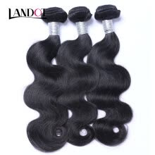 -8A Peruvian Virgin Hair Body Wave 100% Human Hair Weave 3 Bundles Lot Virgin Peruvian Remy Hair Extensions Natural Black Can Dye on JD