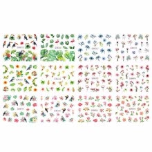 -1 Sheet Nail Sticker Set Mixed Summer Rose Daisy Flamingo Flower Nail Paper Tip Nail Art Styling Set DIY Watermark Manicure on JD