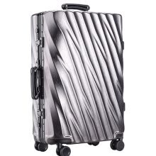 7cf50ba1f 20/24/28 inch Aluminum Frame Rolling Luggage Bag Full Metal Travel Suitcase  Luxury Brand Business Brushed Metal PC Trolley Bags